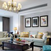 现代简约美式风格客厅背景墙装修效果图赏析
