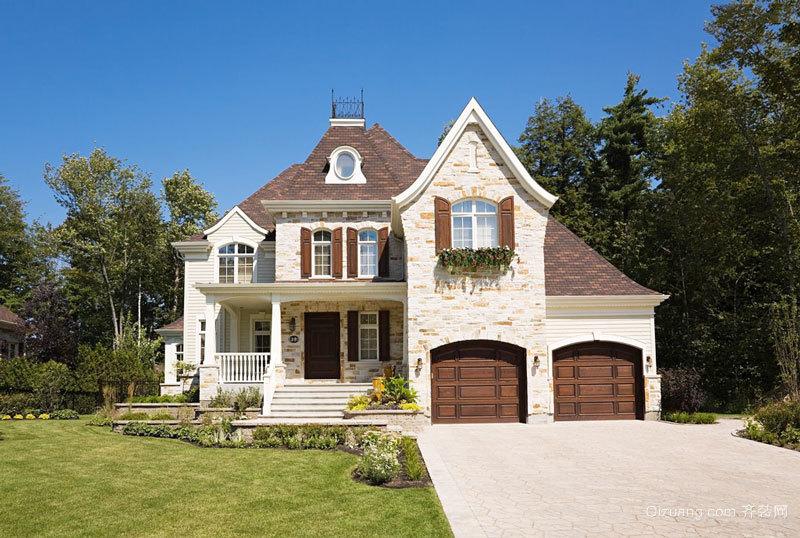 美式风格独栋别墅外观装修效果图欣赏图片