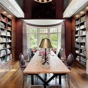 美式风格别墅精致深色系书房设计装修效果图