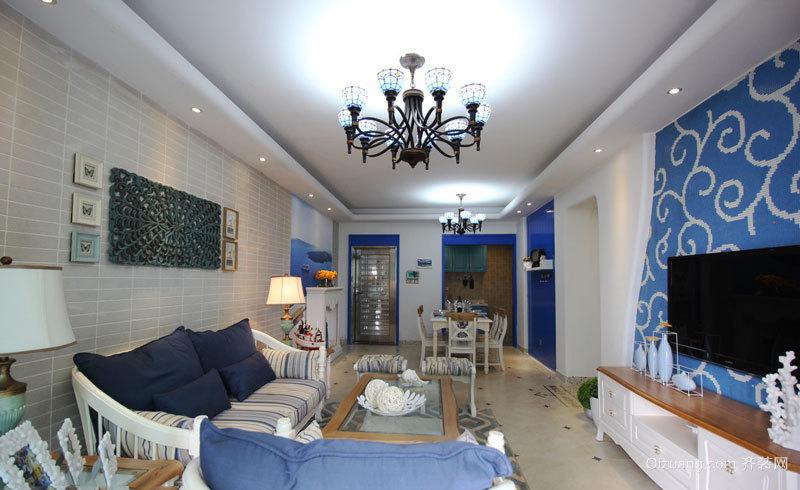 119平米地中海风格精致三室两厅室内设计效果图