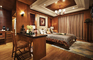 东南亚风格深色系大户型卧室装修效果图赏析