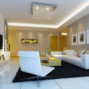现代简约风格两居室客厅吸顶灯装修效果图赏析