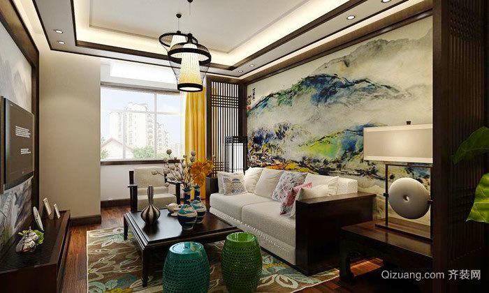 中式风格两居室精致客厅背景墙装修效果图赏析