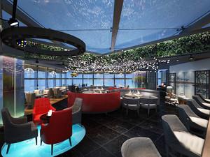 现代简约风格文艺咖啡厅沙发装修效果图