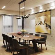 新中式风格大户型餐厅背景墙装修效果图赏析