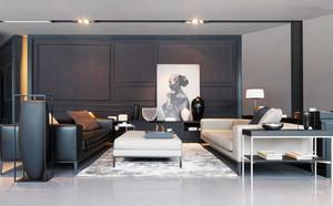 后现代风格大户型黑色系客厅装修效果图