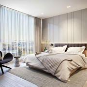 简约风格温馨米色卧室背景墙装修效果图