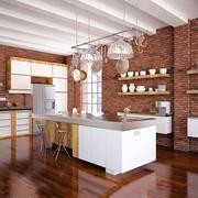 美式乡村风格别墅开放式厨房装修效果图