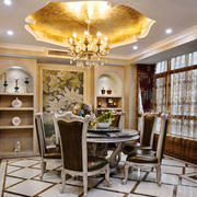 欧式风格精致奢华餐厅圆形吊顶设计装修效果图