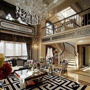 新古典主义风格别墅室内精致客厅设计装修效果图