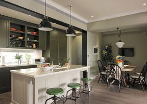 现代简约风格大户型开放式厨房吧台装修效果图赏析