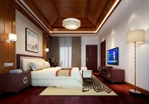 东南亚风格雅致别墅卧室吊顶设计装修效果图