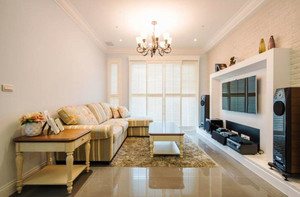 现代风格温馨恬静客厅电视背景墙装修效果图欣赏
