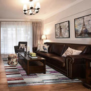 美式风格三居室深色系客厅装修效果图赏析