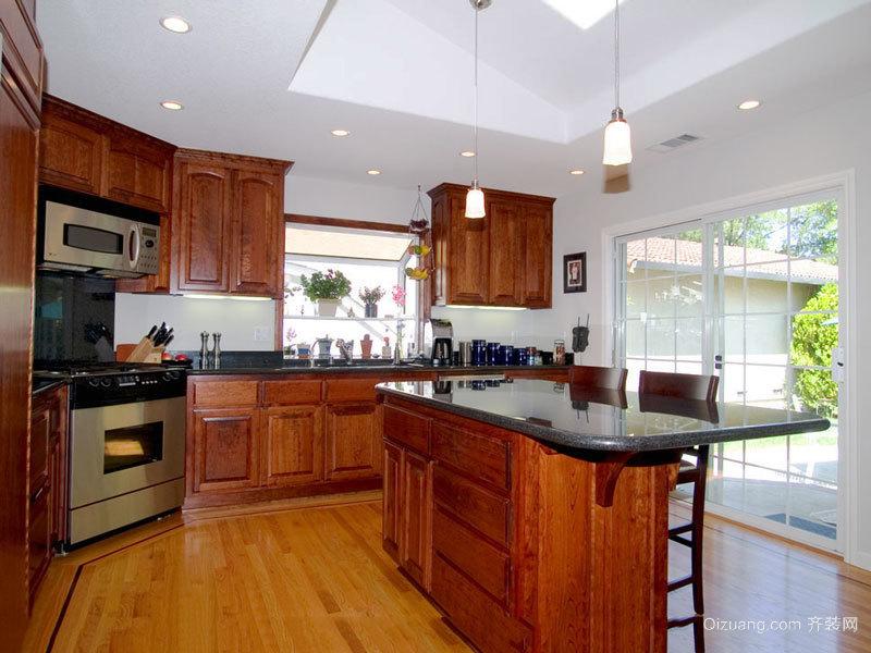 美式乡村风格别墅室内精致开放式厨房装修效果图
