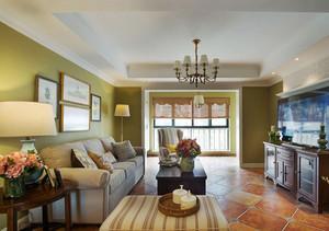 124平米美式混搭风格三室两厅室内装修效果图赏析