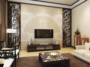 中式风格大户型室内精致客厅电视背景墙装修效果图