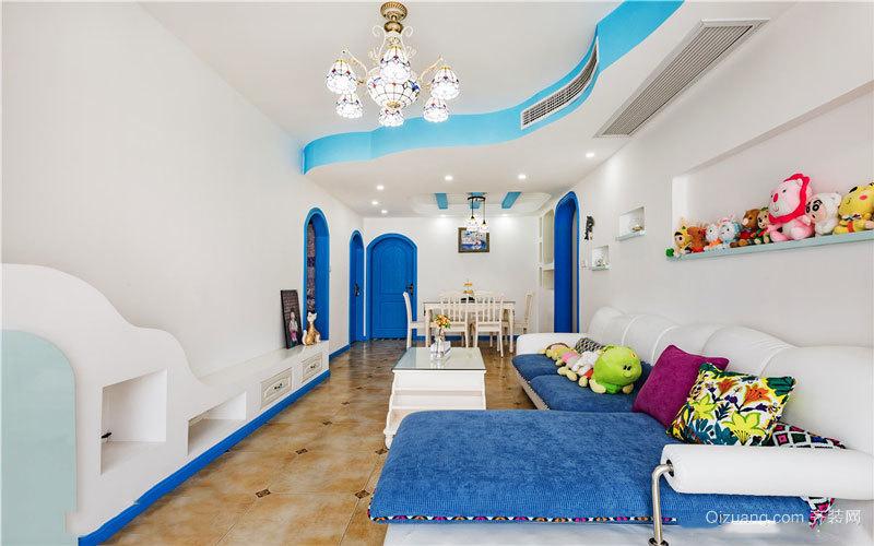 90平米蓝色清新地中海风格室内装修效果图赏析