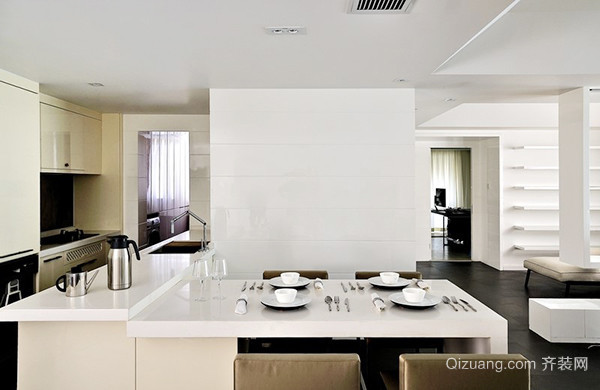 80平米现代简约风格白色公寓装修效果图赏析