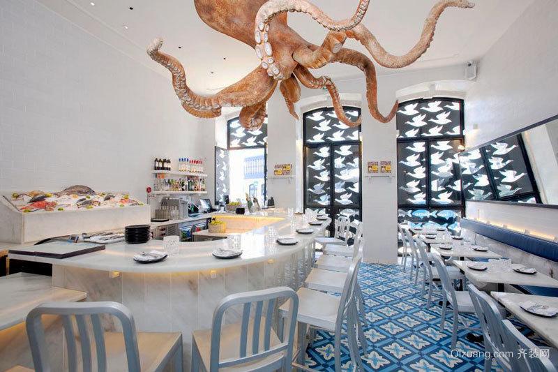 100平米欧式风格精致西餐厅设计装修效果图