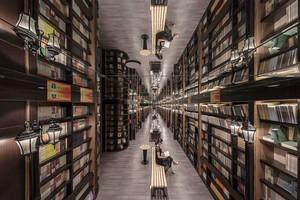 300平米欧式风格大型书店设计装修效果图赏析