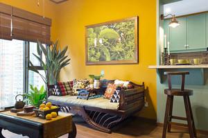 66平米东南亚风格混搭室内一居室装修效果图