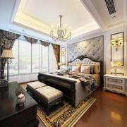 简欧风格三居室室内精致卧室背景墙装修效果图