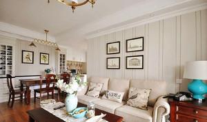 104平米简约美式风格三室两厅室内装修效果图赏析