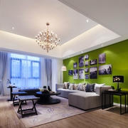 清新风格大户型室内客厅照片墙装修效果图