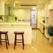 现代风格小户型开放式厨房吧台设计装修效果图