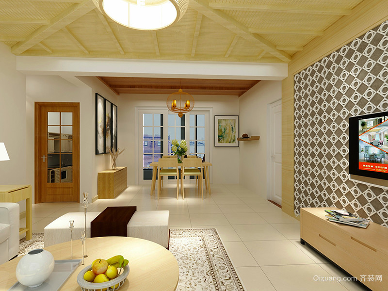 80平米新中式风格简约室内装修效果图赏析