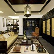 中式风格大户型客厅背景墙装修效果图赏析