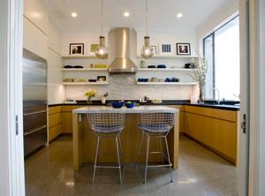 现代简约风格活力黄色开放式厨房吧台装修效果图