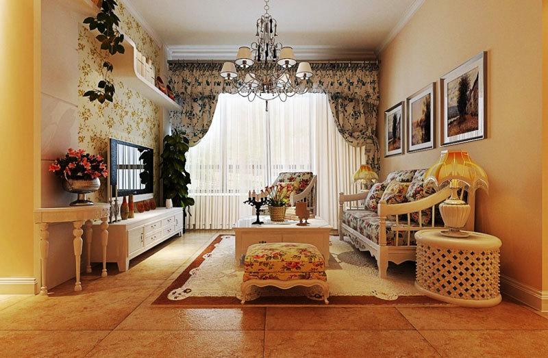 欧式田园风格两居室室内精美客厅装修效果图