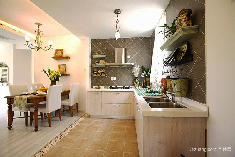 102平米田园风格清新自然两室两厅室内装修效果图赏析