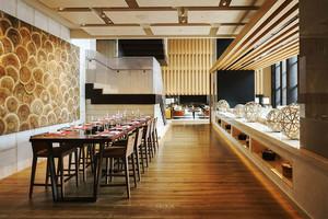 86平米日式风格餐厅吊顶设计装修效果图