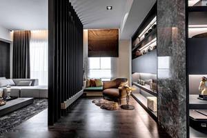 后现代风格黑色系客厅隔断设计装修效果图赏析