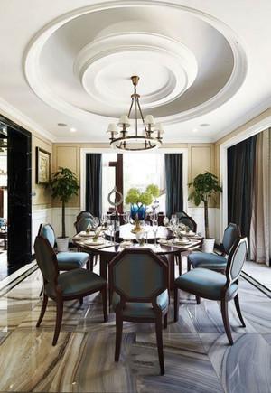 美式风格别墅室内精致餐厅吊顶设计装修效果图赏析