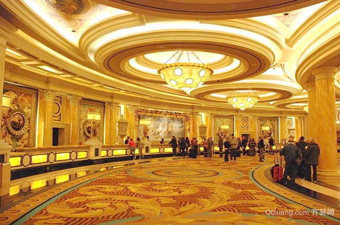 欧式风格奢华宫廷风酒店大堂吊顶设计装修效果图