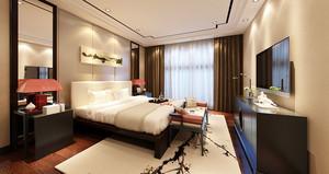 中式风格精典雅酒店客房设计装修效果图