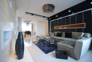 现代简约风格黑色客厅背景墙装修效果图赏析