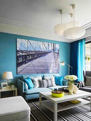 80平米清新浅蓝色室内装修效果图赏析