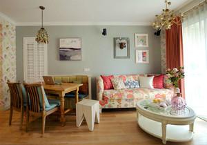 田园风格小户型碎花客厅设计装修效果图赏析