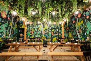 乡村风格创意餐厅背景墙装修效果图