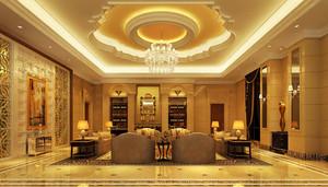 欧式风格富丽堂皇酒店大堂吊顶设计装修效果图