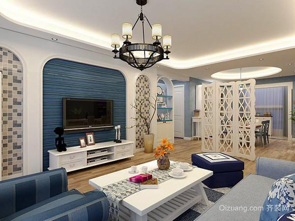 103平米地中海风格简约三室两厅室内装修效果图赏析
