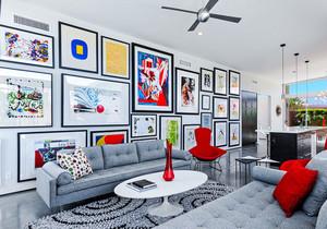现代简约风格大户型精美客厅照片墙装修效果图赏析