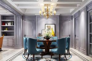 现代美式风格大户型精美餐厅吊灯设计装修效果图