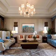 欧式风格别墅室内精致客厅吊灯设计装修效果图赏析