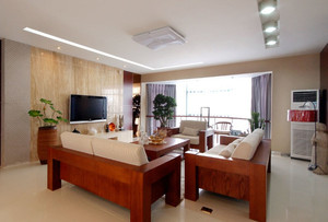 现代风格两居室客厅米色客厅电视背景墙装修效果图